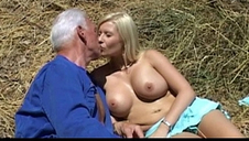 Old farmer man gets penetrated by blonde babe